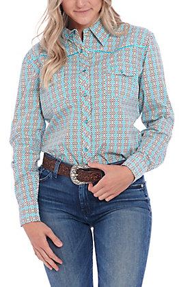 Cowgirl Hardware Women's Turquoise Diamond Print Long Sleeve Western Shirt