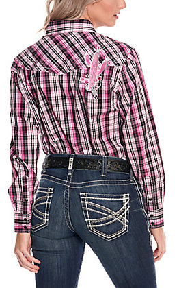 Cowgirl Hardware Women's Pink and Black Plaid with Cactus Embroidery Long Sleeve Western Shirt