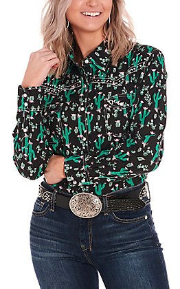 Cowgirl Hardware Women's Black with Floral Cactus Print Long Sleeve Western Shirt