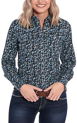Cowgirl Hardware Black & Turquoise Paisley Print Long Sleeve Western Shirt