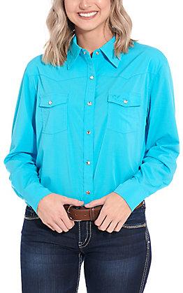 Cowgirl Hardware Women's Turquoise Long Sleeve Western Shirt