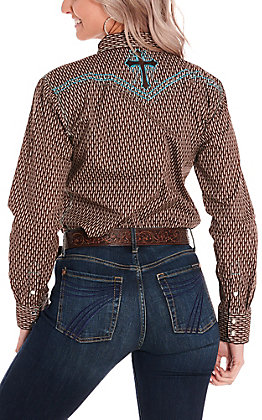 Cowgirl Hardware Women's Brown Feather Print with Cross Long Sleeve Western Shirt
