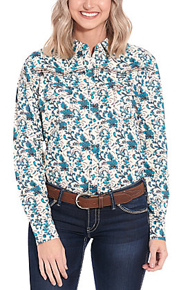Cowgirl Hardware Women's Cream & Blue Floral Print Long Sleeve Western Shirt