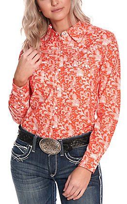 Cowgirl Hardware Women's Coral with White Vintage Floral Print Long Sleeve Western Shirt