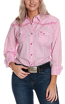 Cowgirl Hardware Women's Pink and White Plaid with Cross Embroidery Long Sleeve Western Shirt