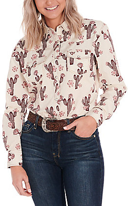 Cowgirl Hardware Women's Cream with Burgundy Rose Cactus Print Long Sleeve Western Shirt