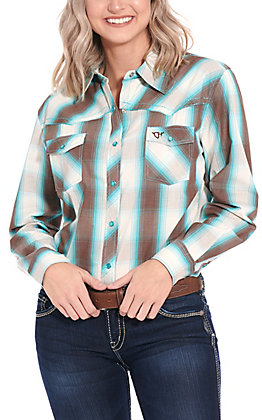 Cowgirl Hardware Women's Brown & Turquoise Plaid Long Sleeve Western Shirt
