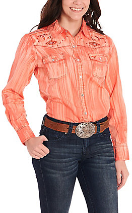 Cowgirl Hardware Women's Coral Brush Dye with Aztec Embroidery Long Sleeve Western Shirt