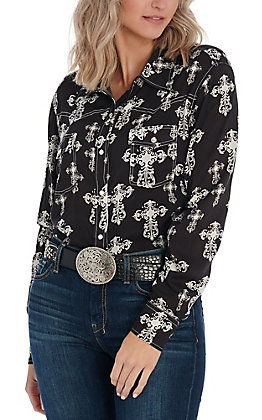 Cowgirl Hardware Women's Black & White Cross Print Fashion Top