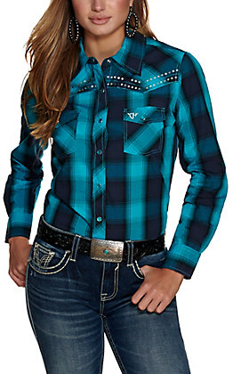 Cowgirl Hardware Women's Turquoise and Black Plaid with Sequins Long Sleeve Western Shirt