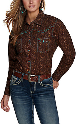 Cowgirl Hardware Women's Brown with Tan Paisley Print with Lotus Cross Embroidery Long Sleeve Western Shirt