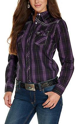 Cowgirl Hardware Women's Purple, Black and White Plaid with Embroidered Cross Long Sleeve Western Shirt