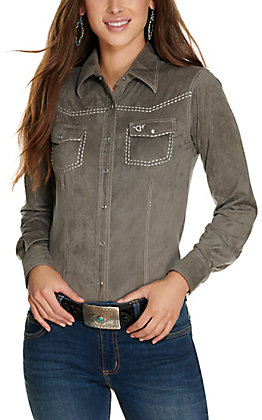 Cowgirl Hardware Women's Charcoal Grey Faux Suede Long Sleeve Western Shirt