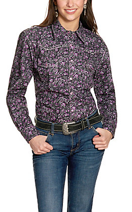 Cowgirl Hardware Black and Purple Paisley Rhinestone Cross Long Sleeve Western Shirt