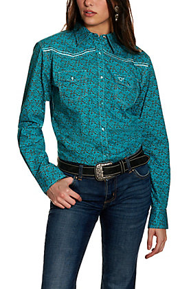 Cowgirl Hardware Women's Turquoise and Brown Bramble Print Long Sleeve Western Shirt