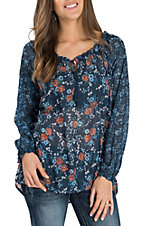 Panhandle Women's Blue Floral Relaxed Sheer Fashion Shirt