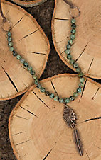 Jewelry Junkie Turquoise and Brown Beaded with Bronze Chief Head and Feather Necklace