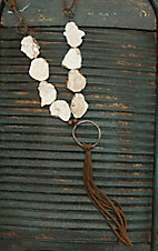 Jewelry Junkie Brown Suede with Large White Stones and Leather Tassel Necklace