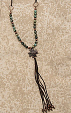 Jewelry Junkie Brown Suede with Green and Bronze Beading and Cross and Brown Suede Tassel Pendant Necklace