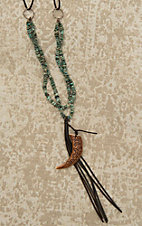 Jewelry Junkie Brown Leather with Turquoise Beaded Double Stands and Horn and Tassel Pendant Necklace