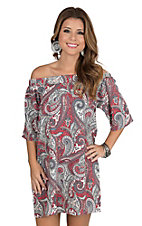 Renee C. Women's Grey, White, and Red Paisley Print Off The Shoulder 1/2 Sleeve Dress