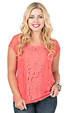 Anne French Coral with Lace Front Cap Sleeve Casual Knit Shirt