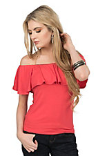 Renee C. Women's Coral with Ruffled Top Short Sleeve Fashion Top