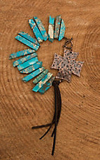 Jewelry Junkie Turquoise with Bronze Cross and Tassel Bracelet