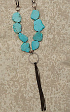 Jewelry Junkie Brown Suede with Large Turquoise Stones and Leather Tassel Necklace