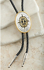M&F Western Silver & Gold with Aztec Center Oval Bolo Tie