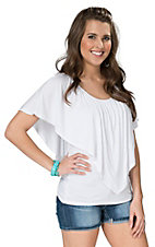 Anne French White with V Overaly Knit Top
