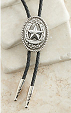 M&F Western Silver Oval with Horseshoe & Star Bolo Tie