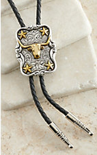 M&F Western Products Antiqued Silver w/ Gold Longhorn & Stars Bolo