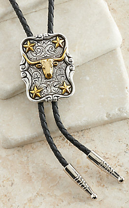 M&F Western Products Antiqued Silver with Gold Longhorn & Stars Bolo