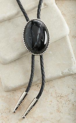 M&F Western Silver Oval with Sardonyx Stone Bolo Tie