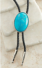 M&F Western Turquoise Howlite Silver Oval Bolo Tie
