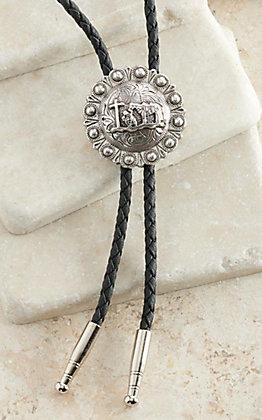 M&F Silver with Praying Cowboy Center Bolo Tie