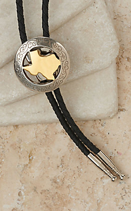M&F Silver with Gold State of Texas Center Bolo Tie