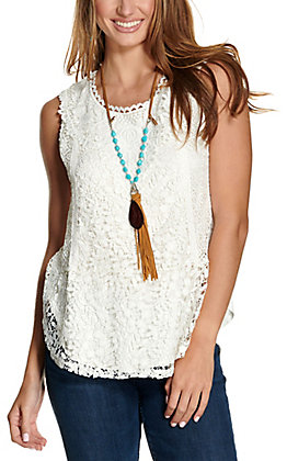Magnolia Lane Women's White with Lace Front Overlay Sleeveless Fashion Tank Top