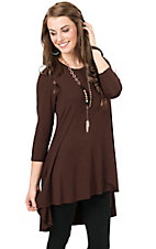 Anne French Women's Chocolate Brown Solid Hi-Lo 3/4 Sleeve Tunic Top