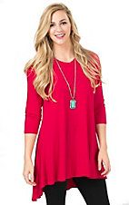 Anne French Women's Chocolate Red Solid Hi-Lo 3/4 Sleeve Tunic Top