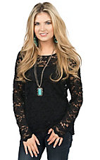 Anne French Women's Black Lace Long Sleeve Top