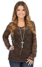 Anne French Women's Chocolate Lace Long Sleeve Top