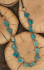 Jewelry Junkie Brown with Large Turquoise Stone Beaded Necklace