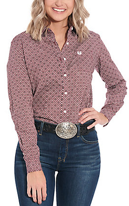 Panhandle Women's Burgundy Geo Print Long Sleeve Western Shirt