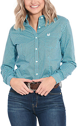 Panhandle Women's Turquoise & Brown Geo Print Long Sleeve Western Shirt