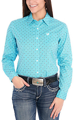 Panhandle Women's Turquoise with White & Chocolate Print Long Sleeve Stretch Western Shirt