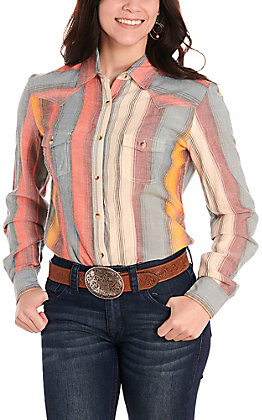 Panhandle Women's Multi Stripes Light Woven Long Sleeve Western Shirt