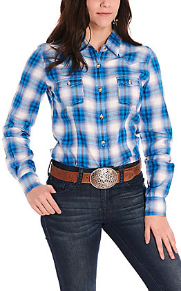 Panhandle Women's Blue & White Plaid Long Sleeve Western Shirt