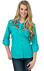 Panhandle Women's Turquoise with Multi Floral Embroidery Long Sleeve Western Shirt